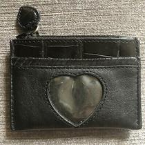 Brighton Wallet Black Leather Croc Zipper Coin Purse 3x4