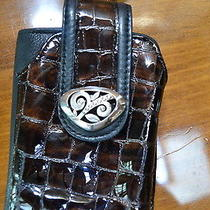 Brighton Wallet/cell Phone Case Wristletbrown Croc and Black Leather Photo