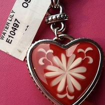 Brighton Water Lily Heart Shaped Keychain Nwt Red Heart Stone Photo