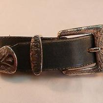 Brighton Western Belt Black Leather With Conchos Sz 29 Made in Usa 1991 Photo