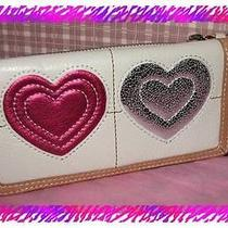 Brighton White Leather Art Heart Large Zip Wallet Clutch Nwtag Photo
