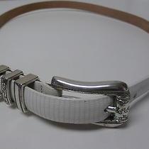 Brighton White Skinny Leather Belt W Floral Designed Brass Buckle Size 32 B1093 Photo
