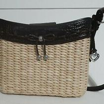 Brighton Wicker and Embossed Leather Croc Shoulder Bag Photo