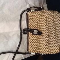 Brighton Wicker Weave 4 Beautiful Silver Charms Tote Purse Leather Trim Handles Photo
