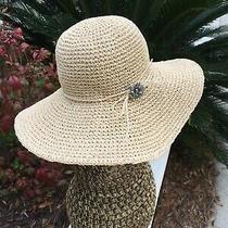 Brighton Wide Brim Hat 100% Paper Straw Medium Gorgeous  Excellent Stylish Photo