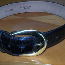 Brighton  Wide  Embossed Leather Belt   Size Small    Brass Buckle Photo