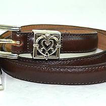 Brighton Women Brown Genuine Leather Belt Xl Silver Buckle 36.5