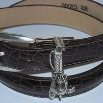 Brighton Women's Belt - Brown Croc Leather -Silver Golf Bag Buckle - Sz M/l 32 Photo