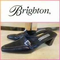 Brighton Women's Black Faux Croc Mules Sz 9n Euc Photo