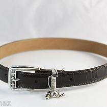 Brighton Women's Dark Brown Belt W Silver Buckle & Golf Bag Keeper Size S/28 2 Photo