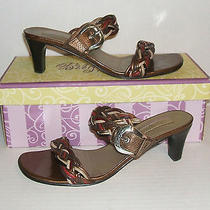 Brighton Womens Fiji Multicolor Leather Dress Heel Slides Sandals 7.5 N Narrow Photo