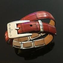 Brighton Womens Leather Belt Red & Silver Buckle Size S Photo