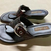 Brighton Women's Size 7 M Lark Brown Flip Flop Thong Wedge Heel Sandals Italy Photo