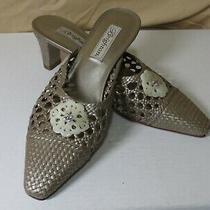 Brighton Women's Size 8.5 Tana Leather Woven Kitten Heel Mules Photo