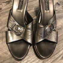 Brighton Womens Summer Wedge Silver Pewter Cork Heels Sandals Sz 10m Photo