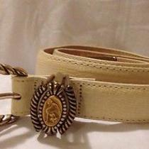 Brighton Women's White Leather Belt Brighton Museum Collection Belt Small 24-26