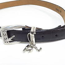 Brighton Womens Black Croc Leather Belt Size 34 Large W/golf Club Bag Rt 48 Photo
