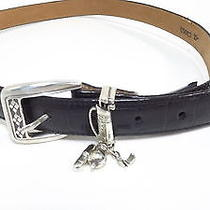 Brighton Womens Black Croc Leather Belt Size 34 Large W/golf Club Bag Rt 48 Photo