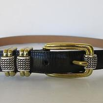 Brighton Womens Classic Black Leather Silver & Gold Buckle Belt  - 32 or M to L  Photo