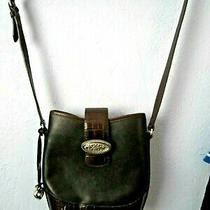 Brighton   Womens Handbag Brown Black Leather Bucket Bag Purse Moc Croc Photo