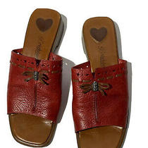 Brighton Womens Red Java Size 8.5 Ladies Slip on Sandal Slides Heart Cutouts Photo