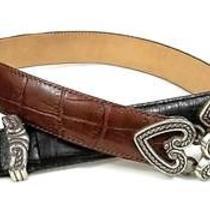 Brighton Womens Size Medium M 6 / 8 Black & Brown Leather Hearts Belt  Photo