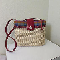 Brighton Woven Basket Medium Tote Shoulder Bag Red Leather Trim Photo