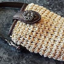 Brighton Woven Jute Pouch With Leather Strap for Cell Phone or Cards Photo