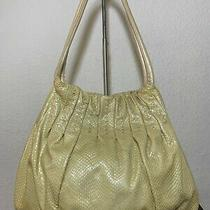Brighton Yellow Snake Embossed Patent Leather Shoulder Ring Shopper Bag Purse Photo
