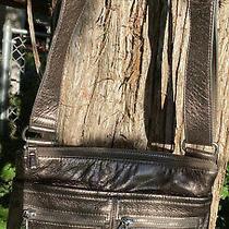 Brighton Zoe Gold Leather Pocket Tote Hobo Organizer  Crossbody Shoulder Bag Photo