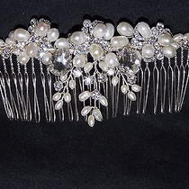 Brilliant Wedding Freshwater Pearl Swarovski Element Silver Plated Hair Comb Photo