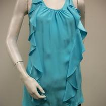 Britt Ryan Ruffled Top Blouse Size 6 Aqua 100% Silk Razor Back Nwot Photo