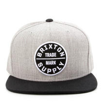 Brixton Clothing Oath Iii Snapback Hat - Heather Grey/black - New Photo