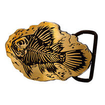 Bronze Fish Fossil Belt Buckle Etched Metal Prehistoric Rock Bones Ocean Animal Photo