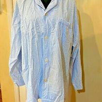 Brooks Brothers 100% Cotton Pajama Night Shirt Size Large Light Blue and White Photo