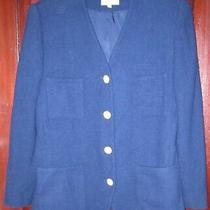 Brooks Brothers 12 Vintage Blazer Jacket Suit Coat 100% Wool Blue Button Usa Photo