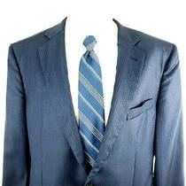Brooks Brothers 1818 Madison Saxxon 44l 2 Button Wool Striped Blue Blazer Photo