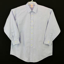 Brooks Brothers 1818 Traditional Fit Blue Check Dress Shirt Size 16.5 32 No Iron Photo