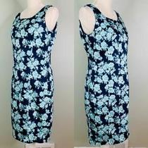 Brooks Brothers 346 Dress Sheath Size 10 Sleeveless Blue Teal Floral Lined Photo
