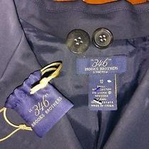 Brooks Brothers 346 Navy Blue Button Down Coat Jacket Womens 10 Medium Large Photo