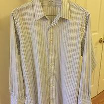 Brooks Brothers 346 Non-Iron Stretch White Blue Strip French Cuff Size 17 1/2-35 Photo