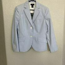 Brooks Brothers 346 Women's Seersucker White & Blue Striped Jacket Blazer Sz 8 Photo
