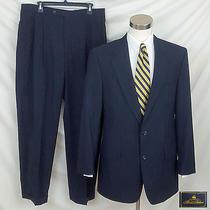 Brooks Brothers 40 41l Navy Blue 2 Piece Suit W Light Blue Stripe / Pleats Cuffs Photo