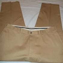 Brooks Brothers Advantage Chino Hudson Tan Flat Front Pants Sz 42 X 30 Cotton Photo