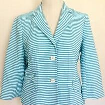 Brooks Brothers Aqua Striped Seersucker Jacket Cotton Sz 8 Us / 14 Uk Photo