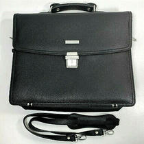 Brooks Brothers Black Grained Leather Laptop Case Briefcase Commuter Bag Photo