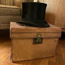 Brooks Brothers Black Silk Top Hat and Leather Carrying Case Photo