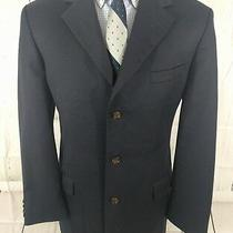Brooks Brothers Blazer 42l Mens Classic Fit 3 Button Sport Coat Wool Blue - Flaw Photo