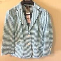 Brooks Brothers Blazer Women's Size 0 Xs Blue & White Striped Nwt 349 Stellita Photo