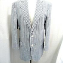 Brooks Brothers Blue and White Stripe Seersucker Mans Jacket 40r Photo